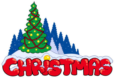 Christmas sign with tree - illustration. Vector