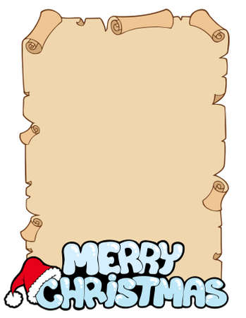 Parchment with Merry Christmas sign - illustration. Vector