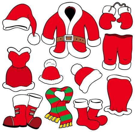 botas de navidad: Diversos de Santa Claus ropa - ilustraci�n.  Vectores