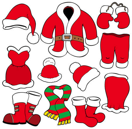 seasonal clothes: Various Santa Claus clothes - illustration. Illustration