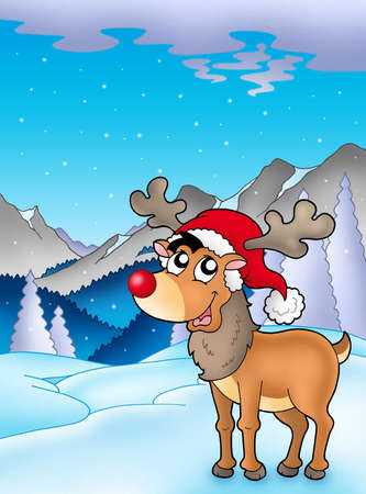 Christmas theme with cute reindeer - color illustration. illustration