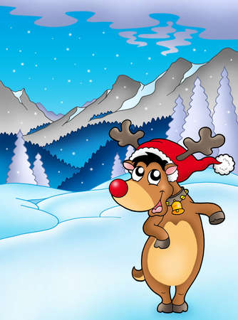 Christmas theme with happy reindeer - color illustration. illustration