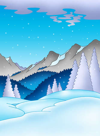upland: Winter landscape with mountains - color illustration.