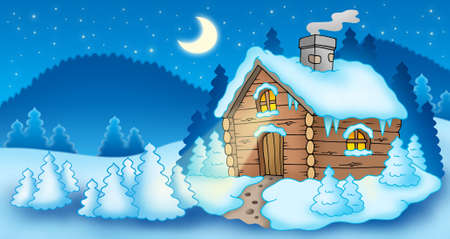 log cabin in snow: Winter landscape with small cottage - color illustration.