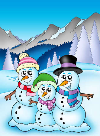 Winter theme with snowman family - color illustration. illustration