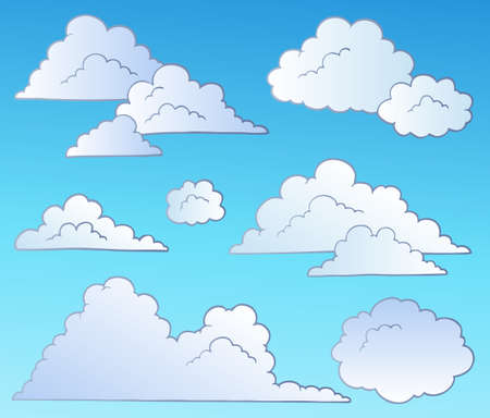 Cartoon clouds collection -  illustration. Stock Vector - 8195475