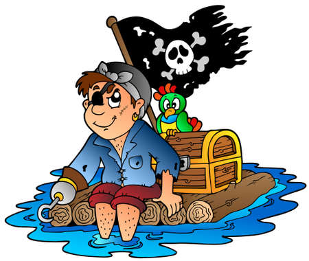eyepatch: Cartoon pirate sailing on raft -   illustration. Illustration
