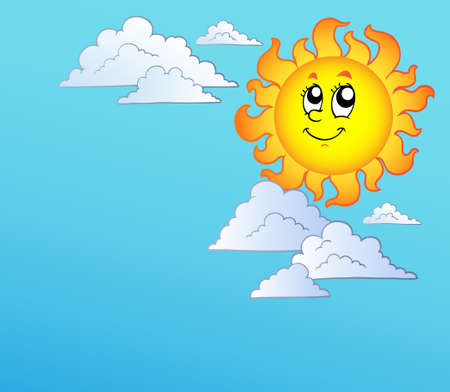 Cartoon Sun with clouds on blue sky -   illustration. Vector
