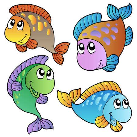 fish scales: Four cartoon fishes   illustration. Illustration