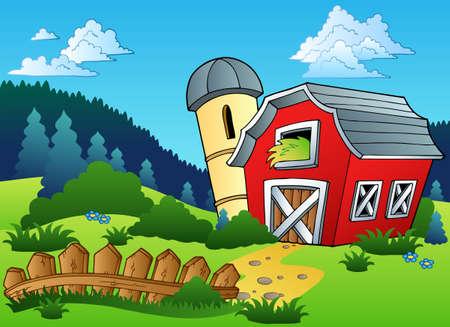 Landschap met boerderij en hek illustratie.