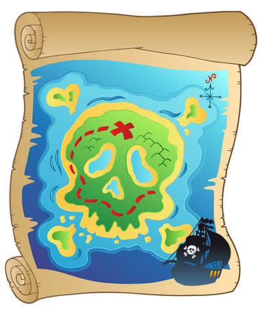 island clipart: Old parchment with pirate map -  illustration. Illustration