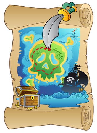 Old scroll with pirate map -   illustration. Vector