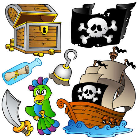 pirates flag design: Pirate collection with wooden ship -   illustration. Illustration