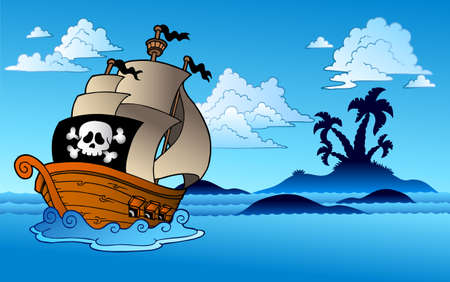 ship sky: Pirate ship with island silhouette - illustration.