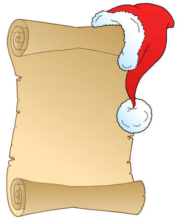 wish list: Scroll with Christmas hat -   illustration.