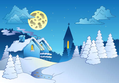blue church: Small village in winter -  illustration. Illustration