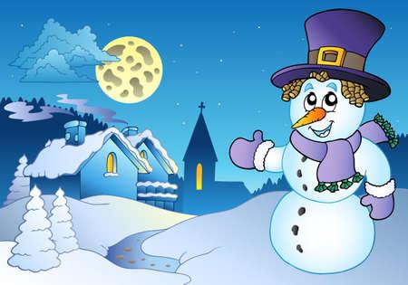 snowbank: Snowman near small village -   illustration. Illustration