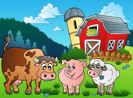 pasturage: Three farm animals near barn -   illustration. Illustration