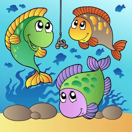 Three fishes and fishing hook  illustration. Vector