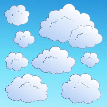 Cartoon clouds collection  illustration. Illustration
