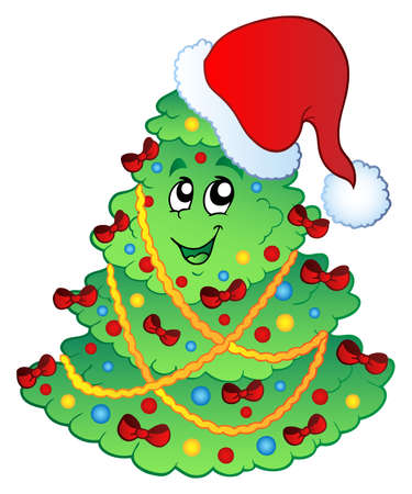 Decorated Christmas tree  illustration. Stock Vector - 8195498