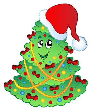 christmas theme: Decorated Christmas tree  illustration. Illustration