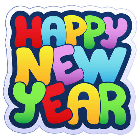 cartoon new: Happy New Year sign   illustration. Illustration