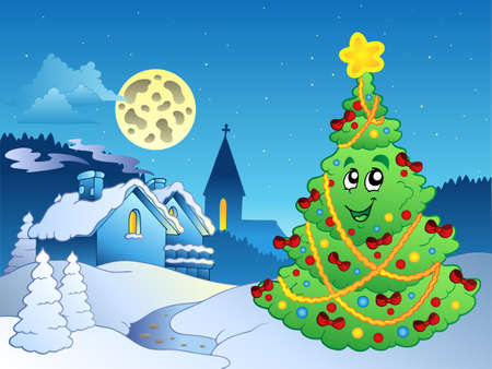 snowbank: Merry Christmas theme  illustration.