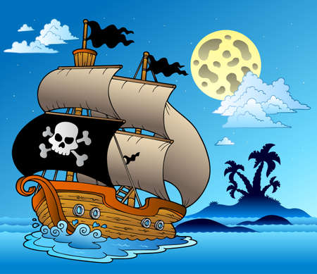 Pirate sailboat with island silhouette  illustration.
