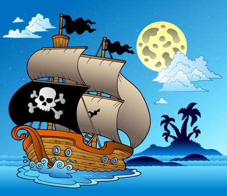 bateau voile: Pirate voilier avec île silhouette illustration.  Illustration