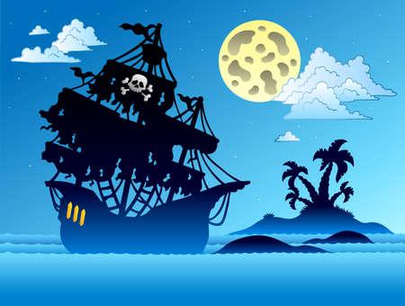 filibuster: Sagoma di nave pirata con isola - illustrazione. Vettoriali