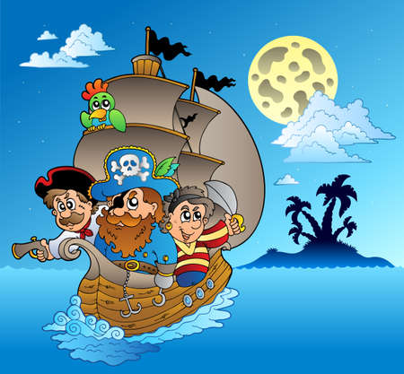 pirate boat: Three pirates and island silhouette   illustration.
