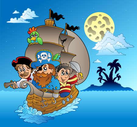 bateau voile: Trois pirates et île silhouette illustration.