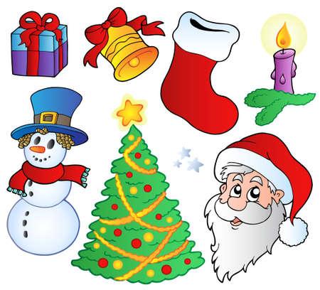 Ilustraci�n de im�genes de Navidad diversas. Foto de archivo - 8195503
