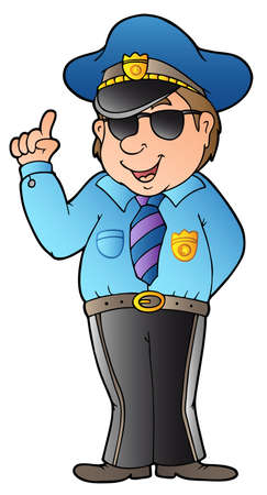 patrolman: Cartoon advising policeman -  illustration.