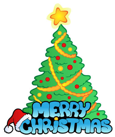 christmas tree illustration: Merry Christmas sign with tree -  illustration.