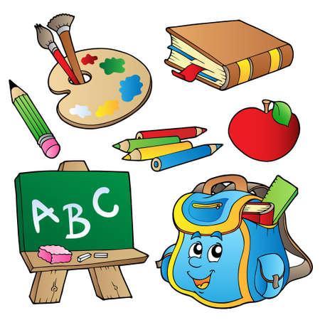 escuela caricatura: Colección de dibujos animados de la escuela - ilustración.