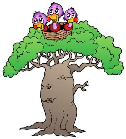 beak vulture: Three small vultures in nest - illustration. Illustration