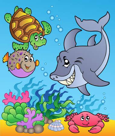 tortuga de caricatura: Los animales bajo el agua y los peces 1 - ilustraci�n.