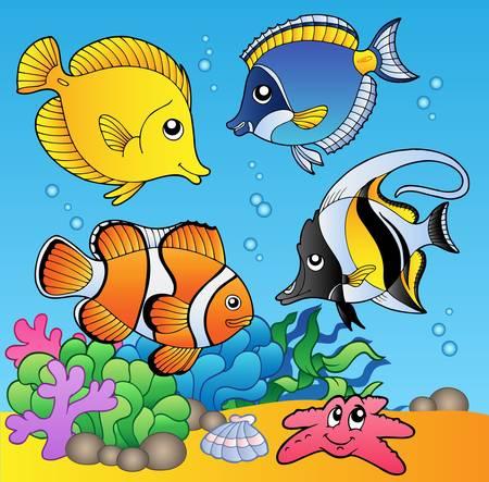 peces de agua salada: Los animales bajo el agua y los peces 2 - ilustraci�n.