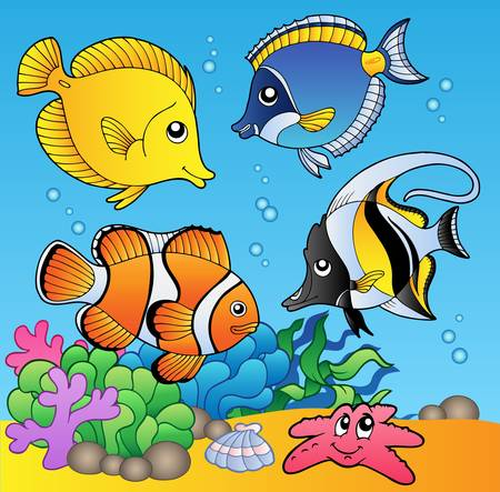 Underwater animals and fishes 2 -  illustration. Stock Vector - 8266248