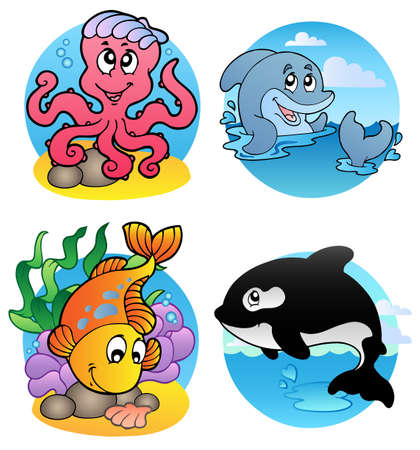 fauna: Various aquatic animals and fishes - illustration. Illustration
