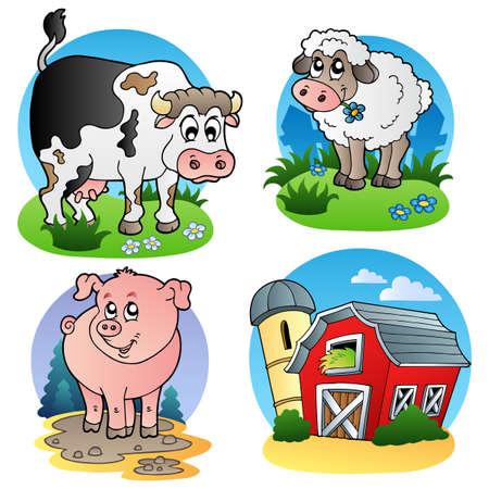 schattige dieren cartoon: Verschillende boerderij dieren 1 - illustratie. Stock Illustratie