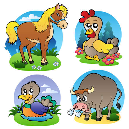 pasturage: Various farm animals 2 -   illustration.