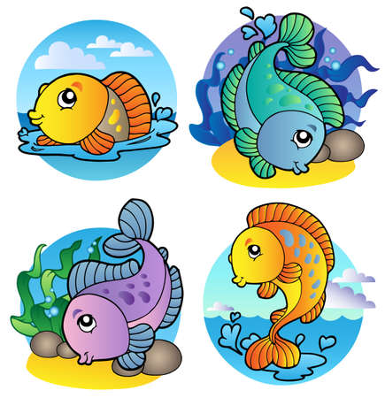 fish water: Various freshwater fishes 1 -  illustration.