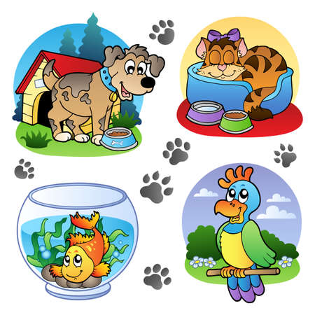 kennel: Various pets images 1   illustration.