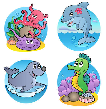 Various water animals and fishes 1 - vector illustration. Stock Vector - 8266224