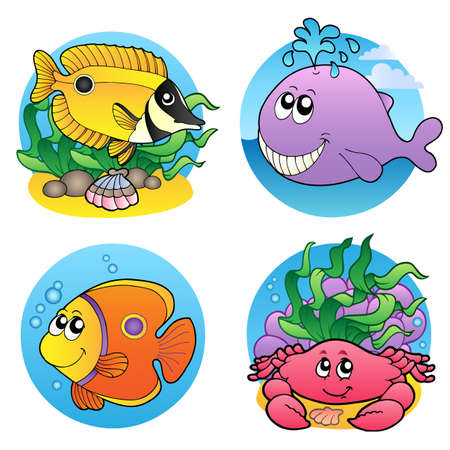 Various water animals and fishes 2 -   illustration. Vector