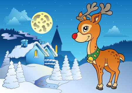 Young Christmas reindeer oudoor 2 - illustration. Vector