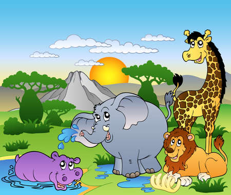 cartoon animal: African landscape with four animals - illustration.